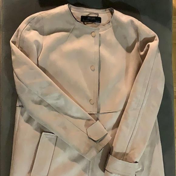 Zara Jackets & Blazers - Zara pink suede mid length jacket